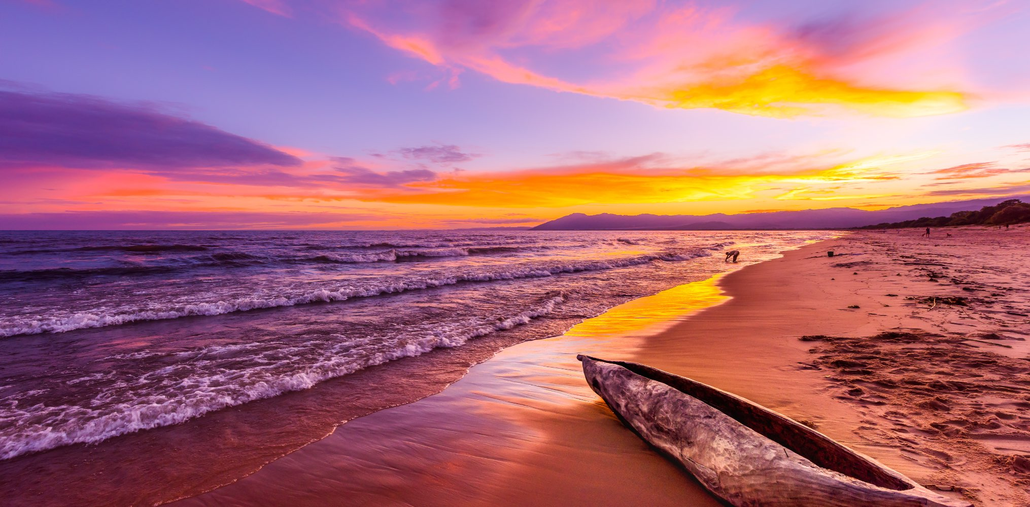 Sunset over the beach and shoreline in Malawi
