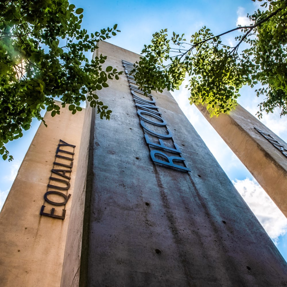 Pillars outside the Apartheid Museum in Johannesburg, South Africa