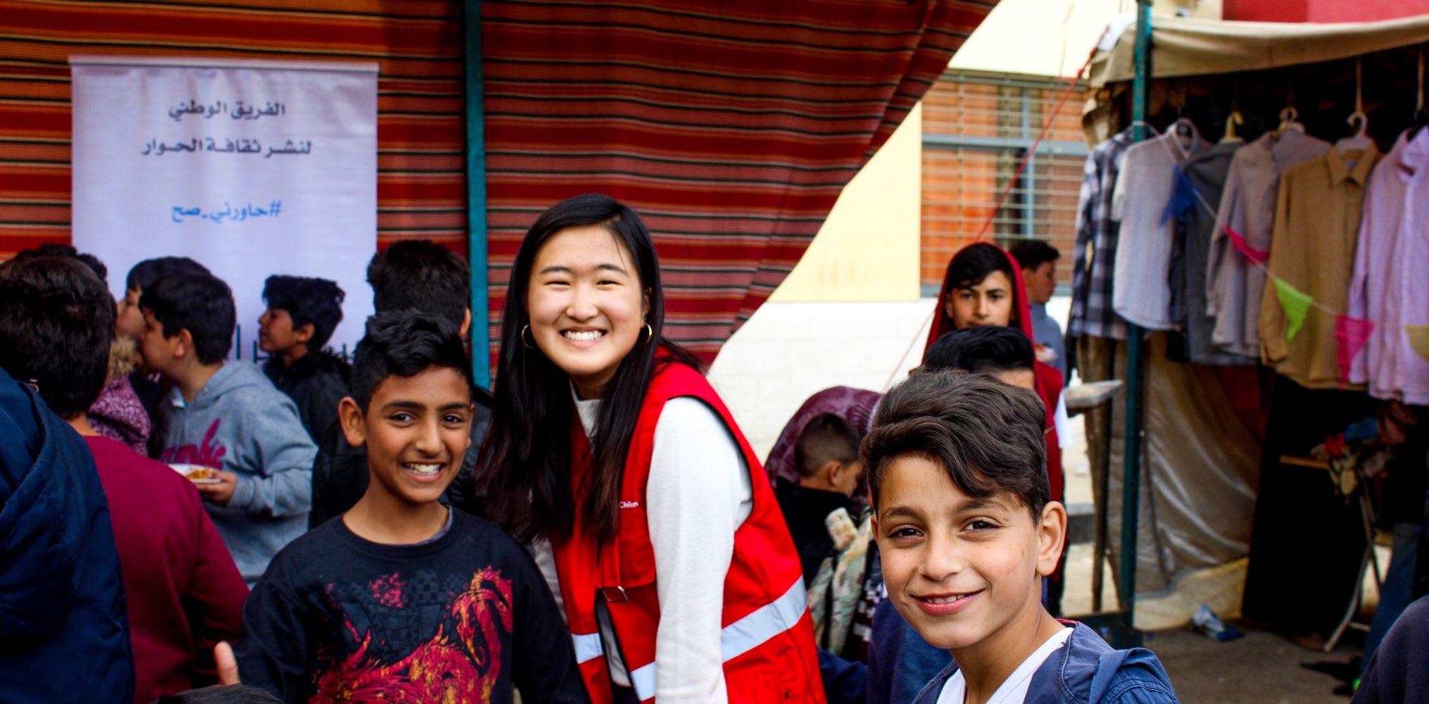 SIT student with refugee children in Jordan