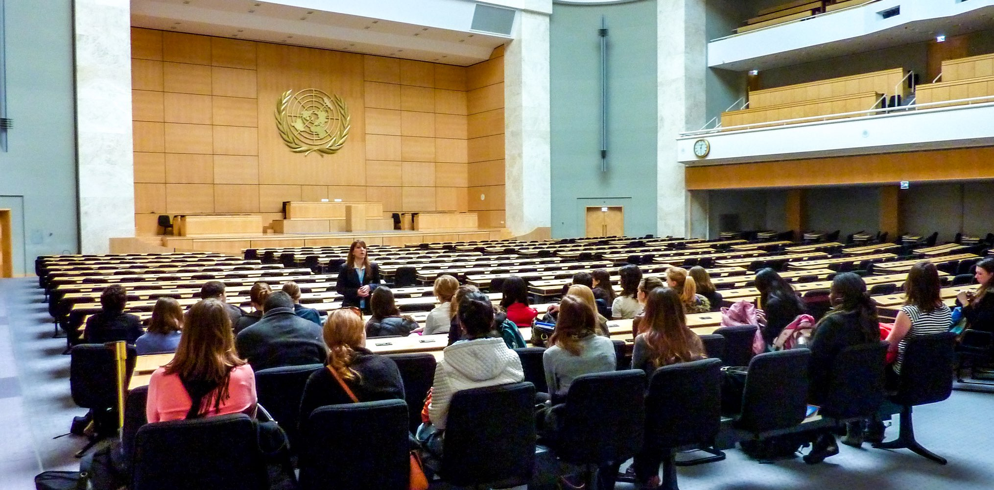 SIT students during a presentation at the UN in Geneva, Switzerland